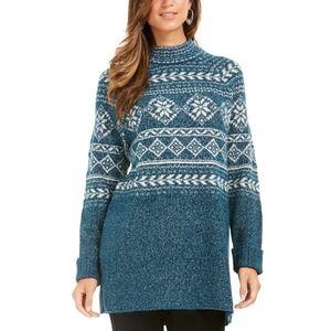 Dark Kale Fair Isle Tunic Sweater Lg